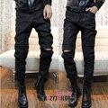 Nueva! ropa de moda negro mate pantalones de cuero nobuck pipkin pantalones para hombre de alta calidad de cuero / 29-35