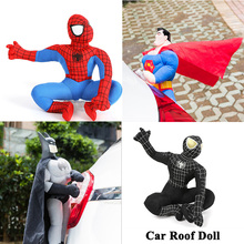 hot deal buy 1pc car roof doll outside cute funny car trunk body hang plush toy superman spiderman batman car exterior accessories decoration