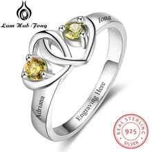 все цены на Fine Jewelry 925 Sterling Silver DIY Heart Birthstone Engraved Name Wedding Engagement Rings Gift For Women (Lam Hub Fong)
