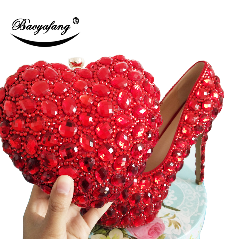 BaoYaFang Red rhinestone Women wedding shoes with matching bags Bride woman and purse Platform female Pumps