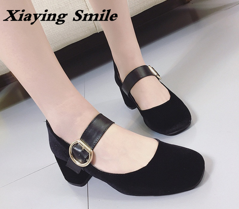 Xiaying Smile Woman Pumps Shoes Women Mary Janes British Style Spring Autumn Square Heels Buckle Strap Flock Rubber Women Shoes xiaying smile summer new woman sandals platform women pumps buckle strap high square heel fashion casual flock lady women shoes