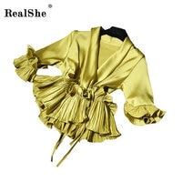 RealShe 2018 Autumn Silk Blouse Shirt Female V Neck Short Sleeve Elegant Ruffles Sashes Blusa Fashion Loose Casual Femme Tops