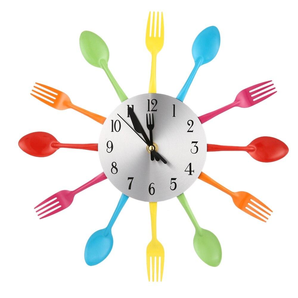 3d grande orologio da parete design moderno in acciaio inox forchetta da cucina orologio da parete