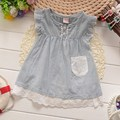 NEW Summer Cute Baby  Kids Children Girls Pocket Casual Striped Lace  Princess infant Dresses Tops T-shirt  Y1543