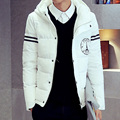 2016 Otoño Invierno de Los Hombres Casual Abrigos Gruesos Calientes estilo de la Cremallera Delgada Outwear Parka Negro/Blanco/Azul Marino/Patrón de La Torre Eiffel de color caqui