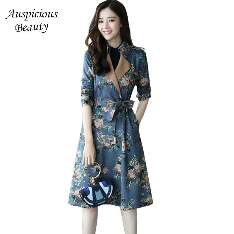 Здесь продается  New Brand Fashion Style Long Coats Autumn Winter 2017 Women Suede Leather Painting Prints Belts Long Trench Windbreakers CX92  Одежда и аксессуары