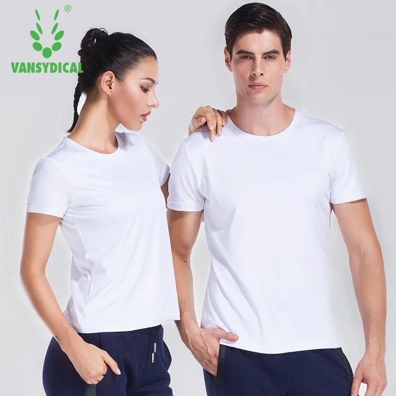 Vansydical Fitness Men Running Shirts Tops Quick Dry Women Yoga Shirt White Short Sleeve Gym Leisure Sports T Shirt Sportswear