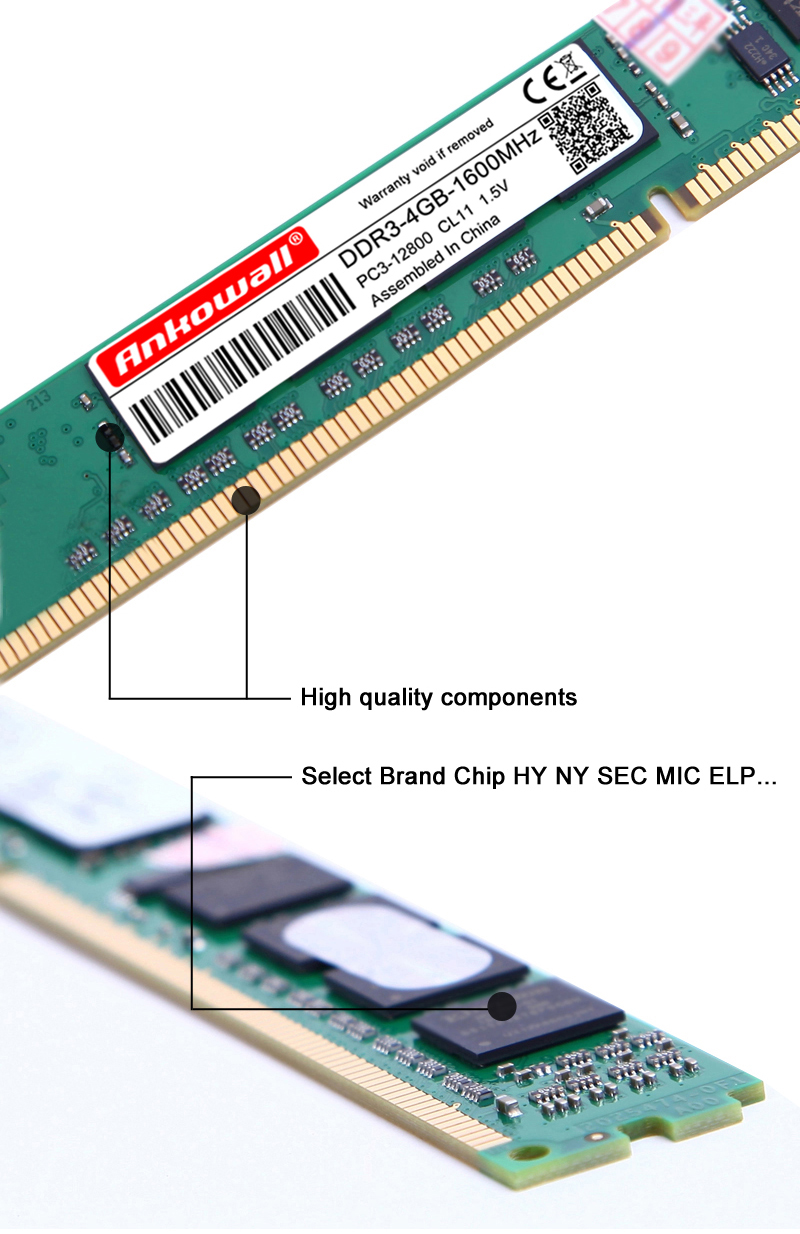 Ankowall DDR3 8GB/4GB 1600MHz/1333MHz Desktop RAM Memory 14
