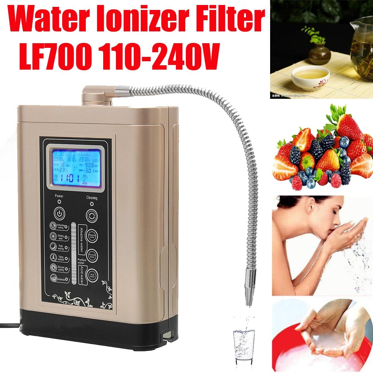 110-240 V de acero LF700 ionizador purificador de agua de LCD Tou ch Control alcalina PH ácido ajustar la máquina es/US/enchufe de la UE