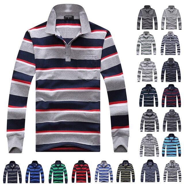 Polos de algodão Homens Camisa Pólo de Manga Longa Mens Primavera Outono Listrado Masculino Polo Vestido Negócio Clássico 2018 Pai Presente Gota navio