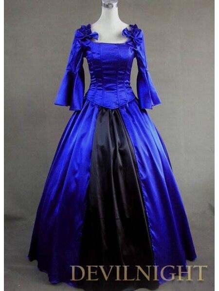 Синий и Черный Старинный Готический Викторианской Бальные Платья Платье Вверх Игры - Цвет: Синий