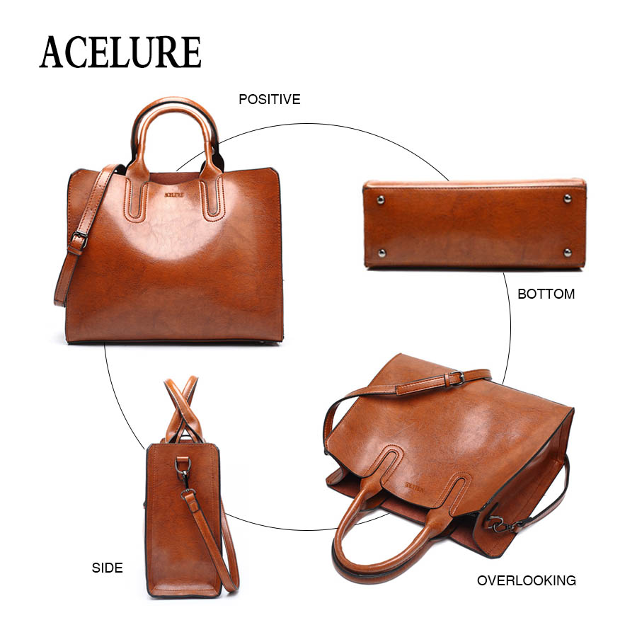 Women's Pure Tote Leather Handbag By Acelure 3