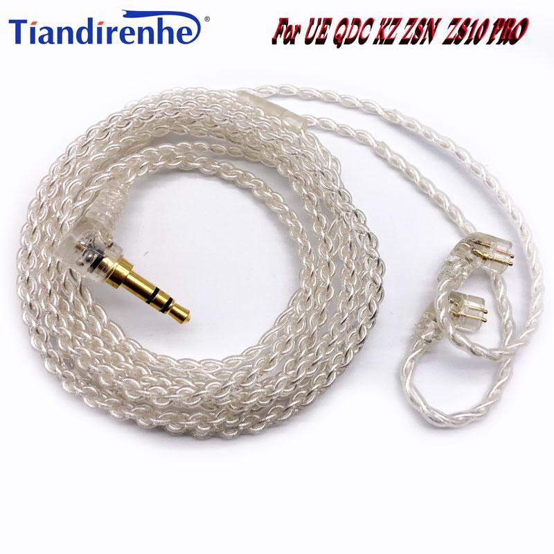 Nuevo 4 hilos 0,78mm Cable 2 Pin para UE QDC KZ ZSN ZS10 PRO Auricular con auriculares de 3,5mm enchufe para u18 11pro 10pro 7pro 4pro