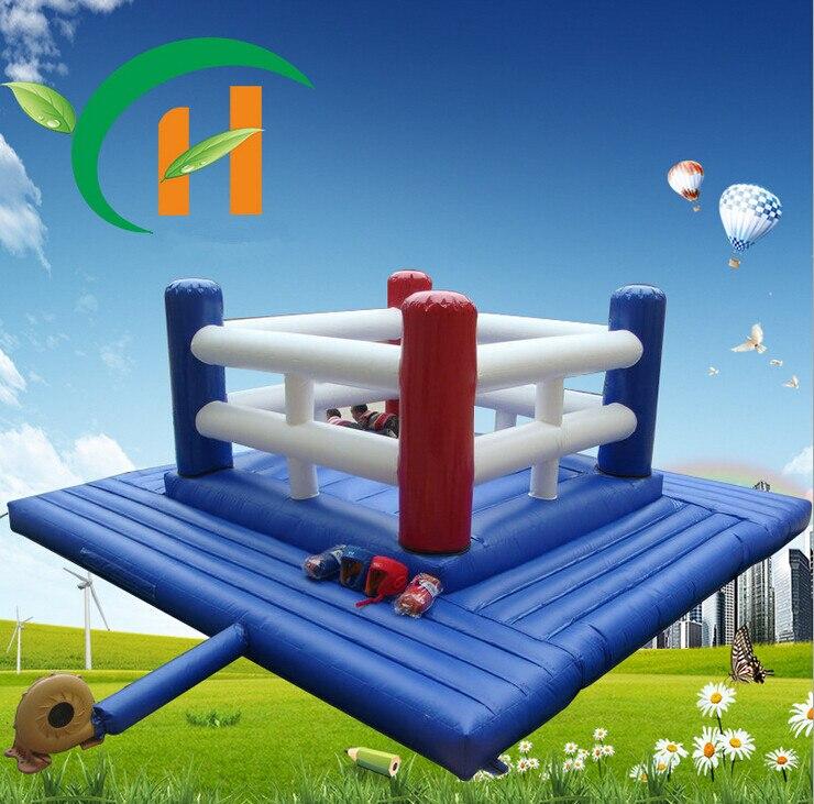 boxing ring blue nylon anime cartoon inflatable castle jump bed trampoline kids indoor. Black Bedroom Furniture Sets. Home Design Ideas