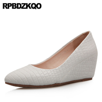 Snake Court White Wedge Shoes Pointed Toe Women High Heels Sweet Snakeskin 2018 Classic Office Gray Size 4 34 Pumps Blue Work