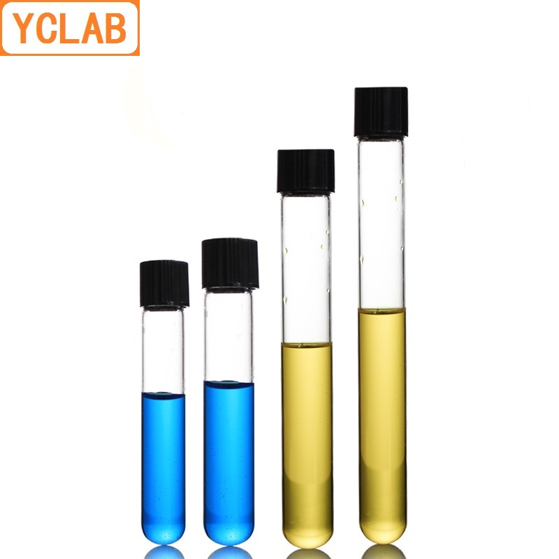 Easy to use 23mL Screw Mouth with Black PF Cap Borosilicate 3.3 Glass High Temperature Resistance ZHaonan- small test tubes 16 * 150mm Test Tube