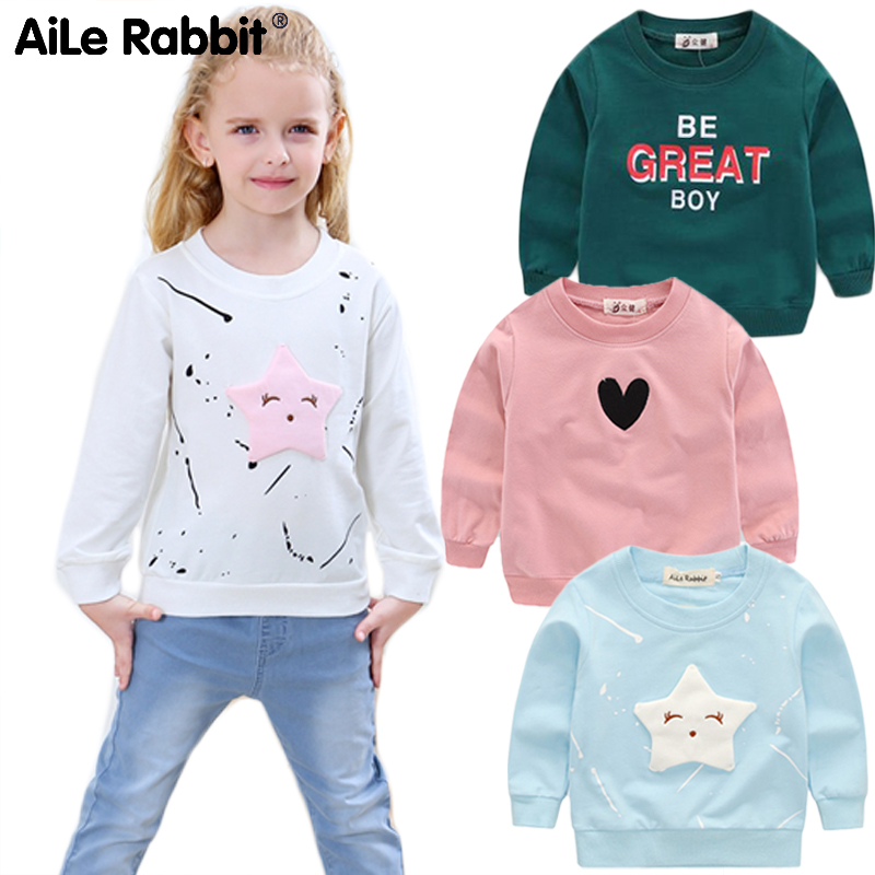AiLe Rabbit  New Baby Girls Clothing Banner Star Girls  Long Sleeve T Shirt Children's Clothing  Casual Tops Tee Shirt k1(China)