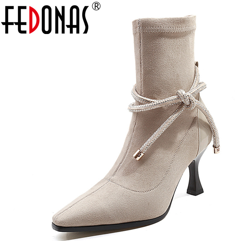 FEDONAS 2018 Women's MId-calf Boots Pointed Toe Elastic Autumn High Heels Shoes Woman Female Socks Boots Cow Suede Sesy Shoes gaozze fashion women socks boots mid calf thick high heels boots women comfortable elastic knitted fabric female boots brand