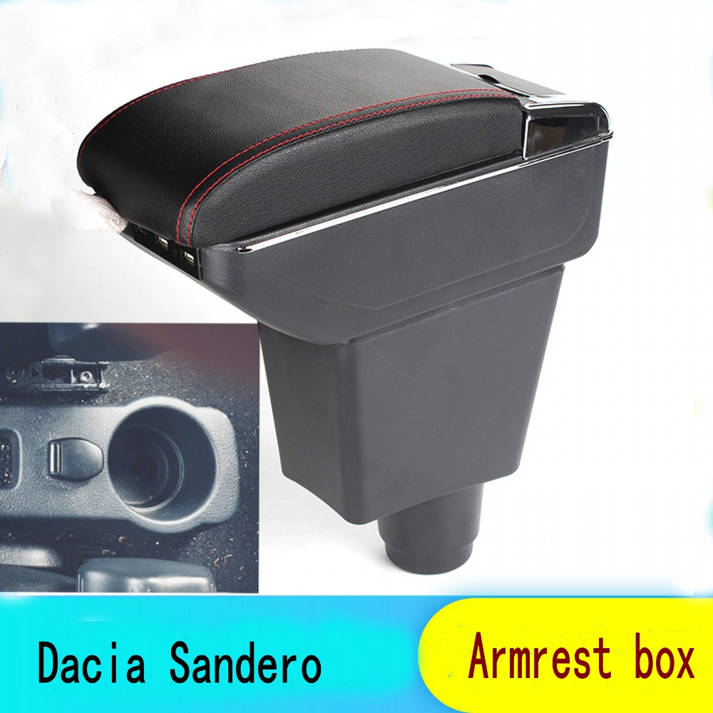 Buy For Dacia Sandero armrest box central Store content Storage box Dacia stepway armrest box with cup holder ashtray USB interface for only 29 USD
