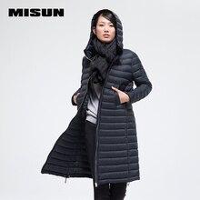 2016 misun thin down coat long straight design brief fashion with a hood