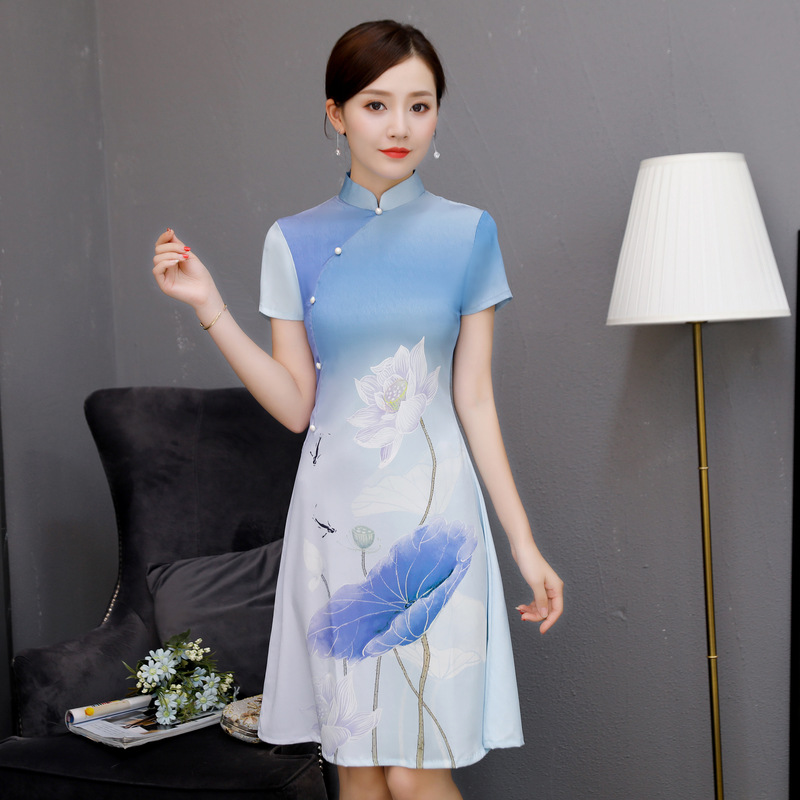 Short style Cheongsam Vintage Chinese Mandarin Collar Dress Womens Summer Mini Qipao Slim Party Dresses Vestido