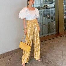 LANMREM 2019 nueva moda de verano ropa de mujer de cintura alta ropa de calle bordado pantalones largos rectos pantalones femeninos WG59500L