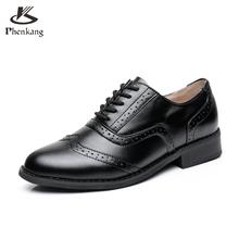 Женщины квартиры оксфорд обувь большой размер плоским подлинной кожаная старинные круглым носком туфли ручной работы черный 2017 oxfords обувь для женщин