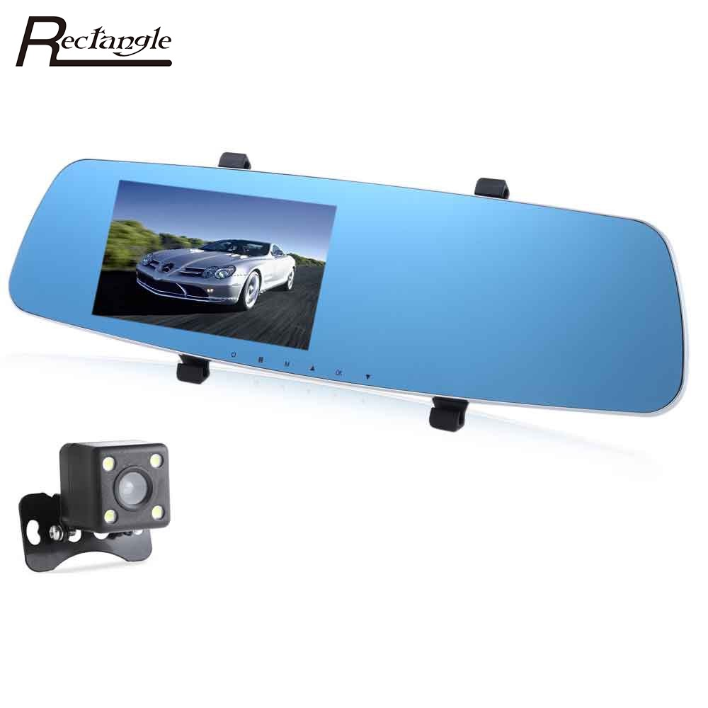 RH - 655 Car DVR Rear-view Mirror Full HD 1080P 5 Inch Dual Lens Vehicle Traveling Data Recorder GPS G-sensor Night Vision blackview bl500 2 7 tft full hd 1080p 5 0mp cmos car dvr w gps ir 178 angle lens g sensor