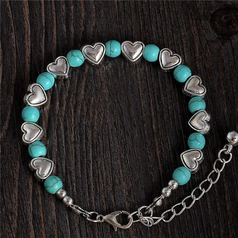 H: hído moda Bohemia elegante corazón noble brillante cuentas de piedra Natural pulsera encantadora accesorios hechos a mano joyería de moda