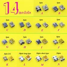14 modelli 5pcs ogni 5PIN 8Pin 10Pin Mini connettore USB jack porta di Ricarica presa di alimentazione Per MP3 MP4 MP5 auto DVR FAI DA TE giocattoli elettrici