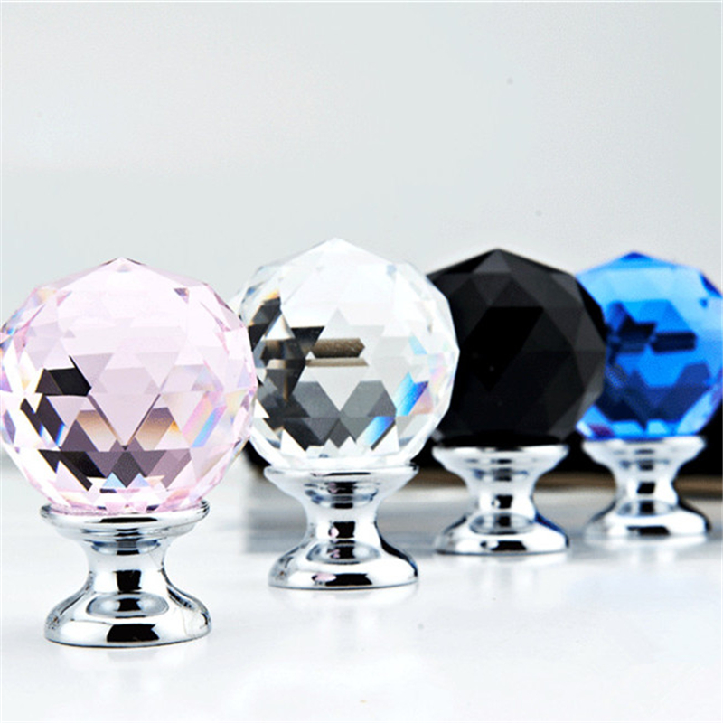 5 Pcs 30mm Diamond Shape Crystal Glass Door Handle Knob for furniture Drawer Cabinet Kitchen Pull Handles Knobs Handle Wardrobe mtgather 8pcs 40mm clear crystal glass diamond cut door knobs kitchen cabinet drawer knobs screw home decorating