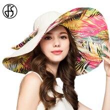 FS Women Summer Hats Large Brim Beach Foldable Sun Hat Vintage Flower  Floppy Female Visor Caps a17d6fb7af58