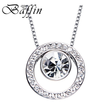 2017 Round Pendant Necklaces For Women Fashion Silver Color Circles Collier Crystal From SWAROVSKI Jewelry(China)