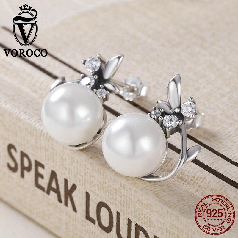 VOROCO Stud-Earring Jewelry Flower Pearl Freshwater 925-Sterling-Silver Wedding-Fashion-Style