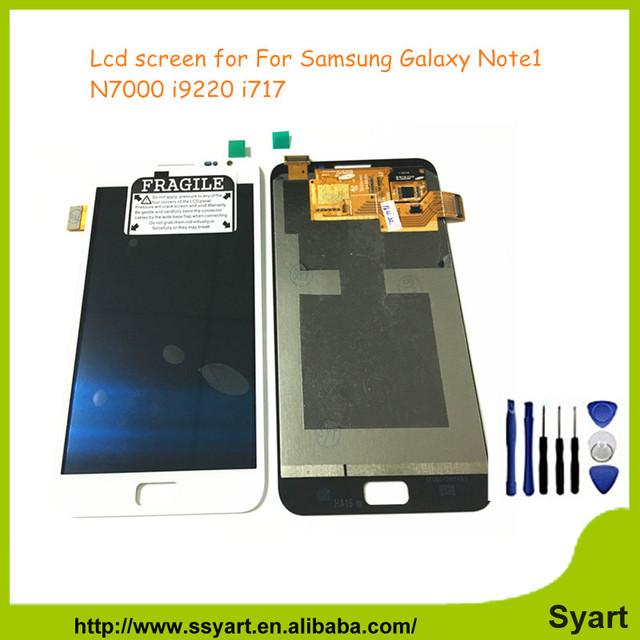 100% de alta qualidade lcd para samsung note1 n7000 i9220 display lcd original e tela sensível ao toque de substituição digitador com ferramentas livres