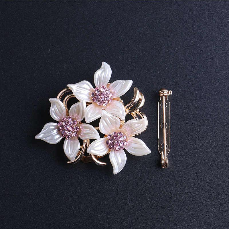 Lnrrabc Wanita Bros Hat Aksesoris Syal Klip Wanita Kristal Berlian Imitasi Paduan Bunga Pakaian Pin Bros Fashion Perhiasan