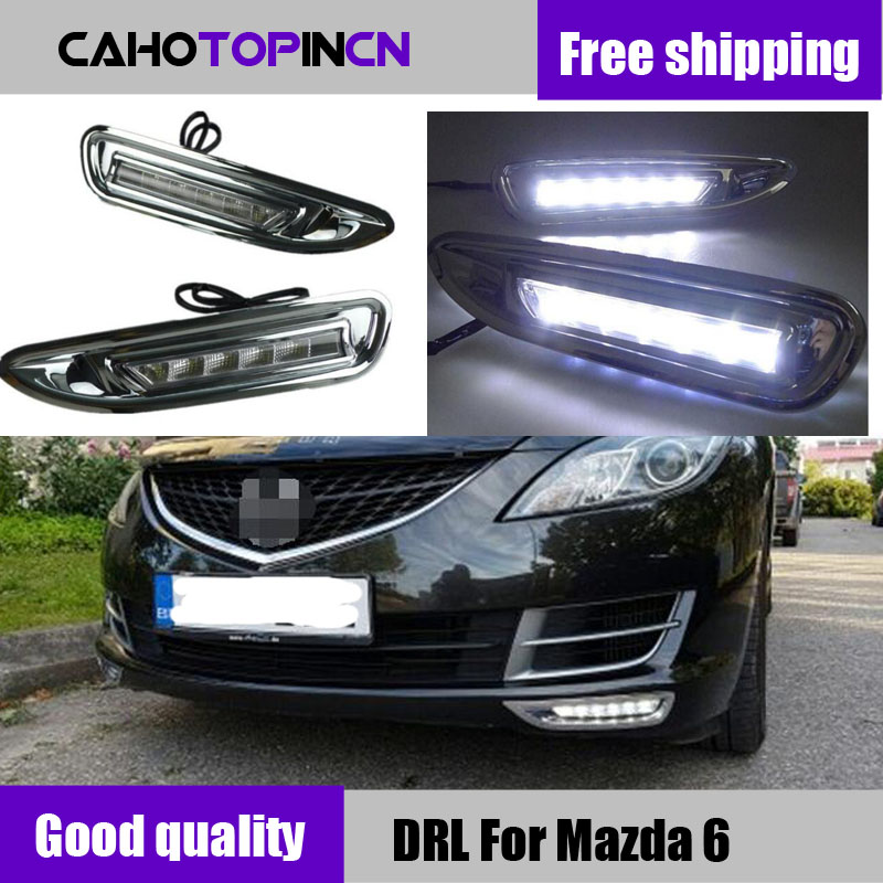 DRL For Mazda6 Mazda 6 2008 2009 2010 12V LED Car Waterproof ABS DC Daytime Running Light Daylight With Chromed ABS Cover-in Car Light Assembly from Automobiles & Motorcycles    1