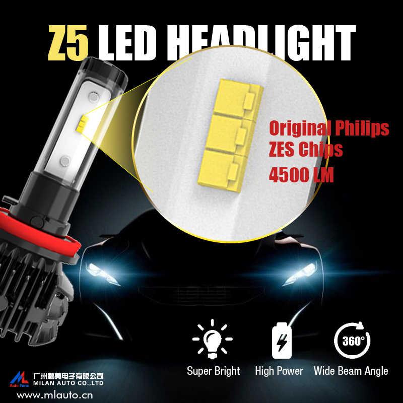 H7 Led H4 Car Headlight H11 H1 H3 HB3 HB4 9005 9006 Automobiles Bulb 3000K 4300K 6500k 8000K ZES 12V 50W 9000lm Z5 Auto Fog Lamp