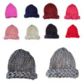Women Korean Version Fall Winter Coarse Lines Pointy Warm Woolen Cap Knitted Hat
