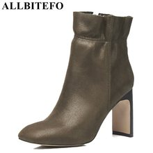 ALLBITEFO fashion genuine leather square toe thick heel women boots high heel shoes ladies boots winter girls boots size 33-43