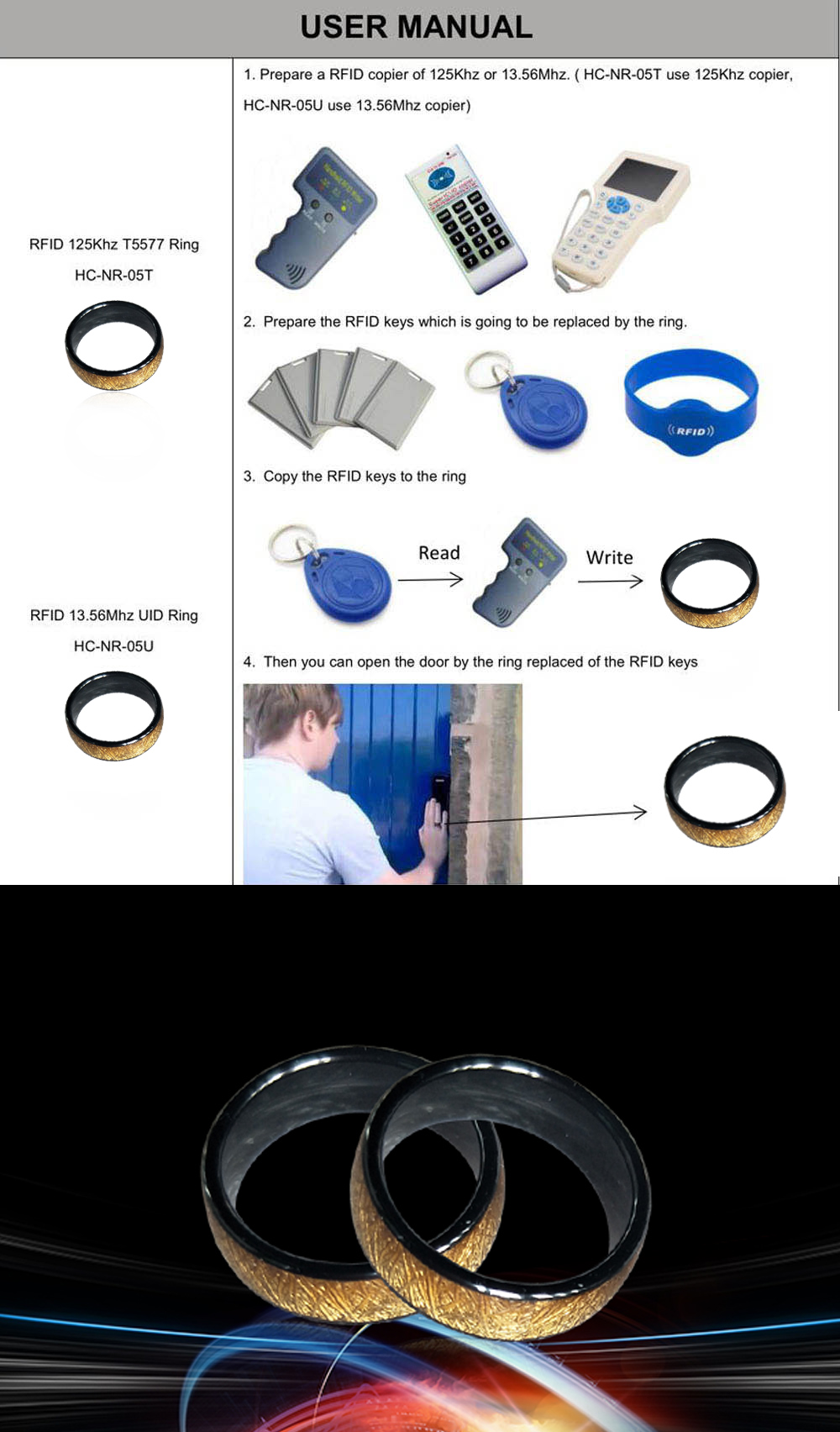 125KHZ or 13 56MHZ RFID Ceramics Smart Finger Golden Ring