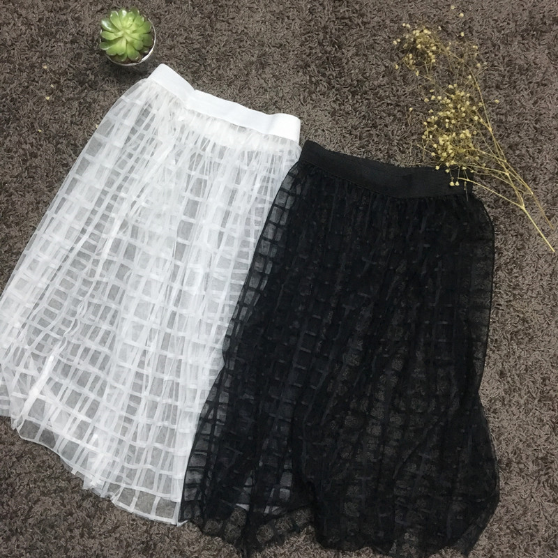 2017 summer women skirt lace mesh tulle pencil skirt transparent mini high waist short vintage Sexy white black lace Plaid skirt