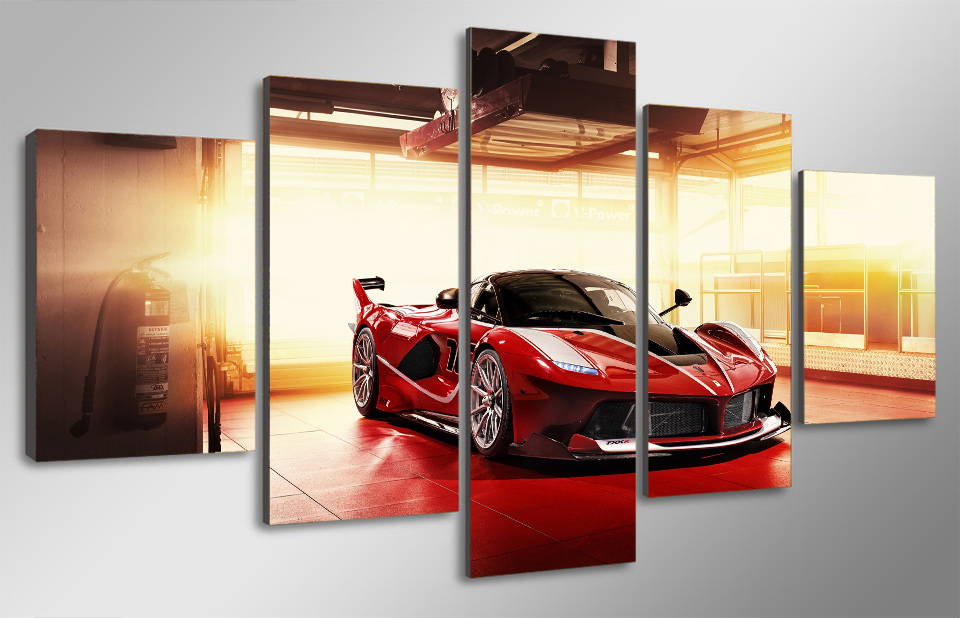 HD Printed Red Luxury Sports Car Painting Canvas Print