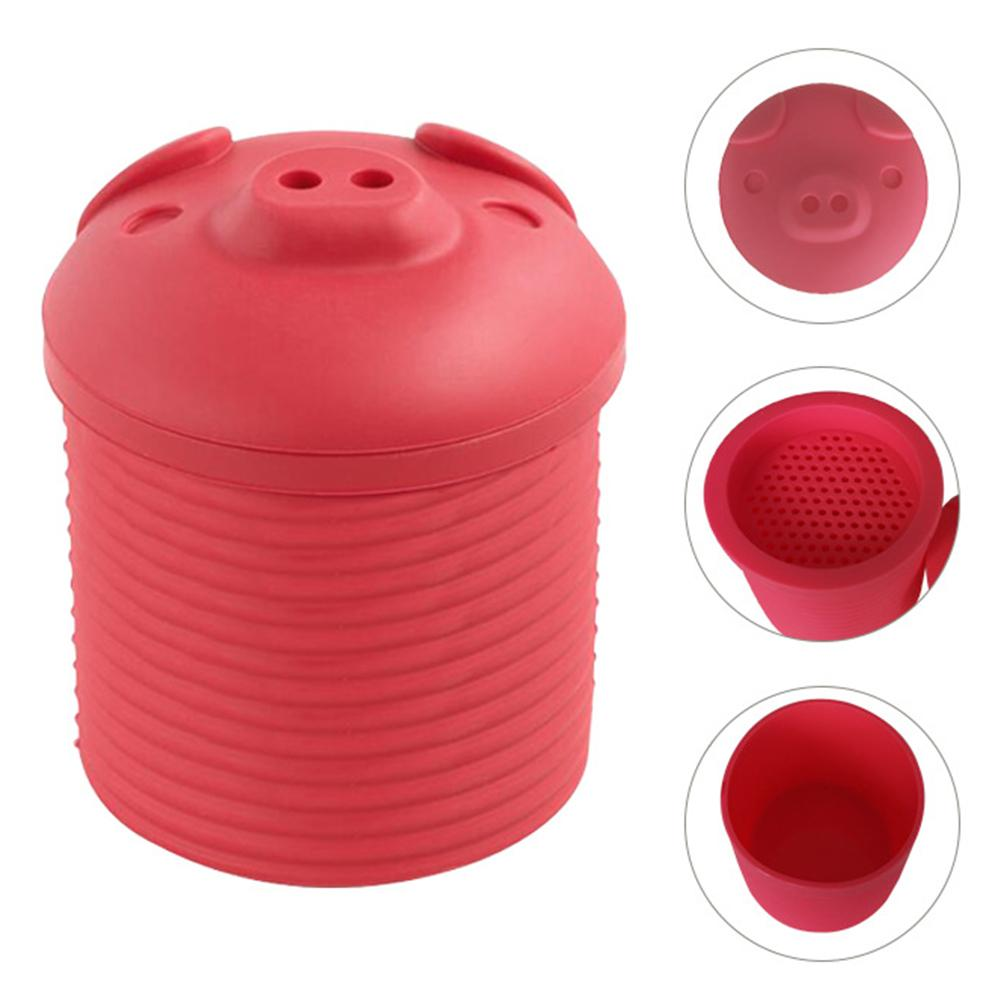 Innovative Cartoon Pig Shaped Silicone Bacon Grease Leacher Collector Storage