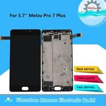 5.7 original original original m & sen super amoled para meizu pro 7 plus m793h lcd screen display + painel de toque digitador com moldura para pro7 plus