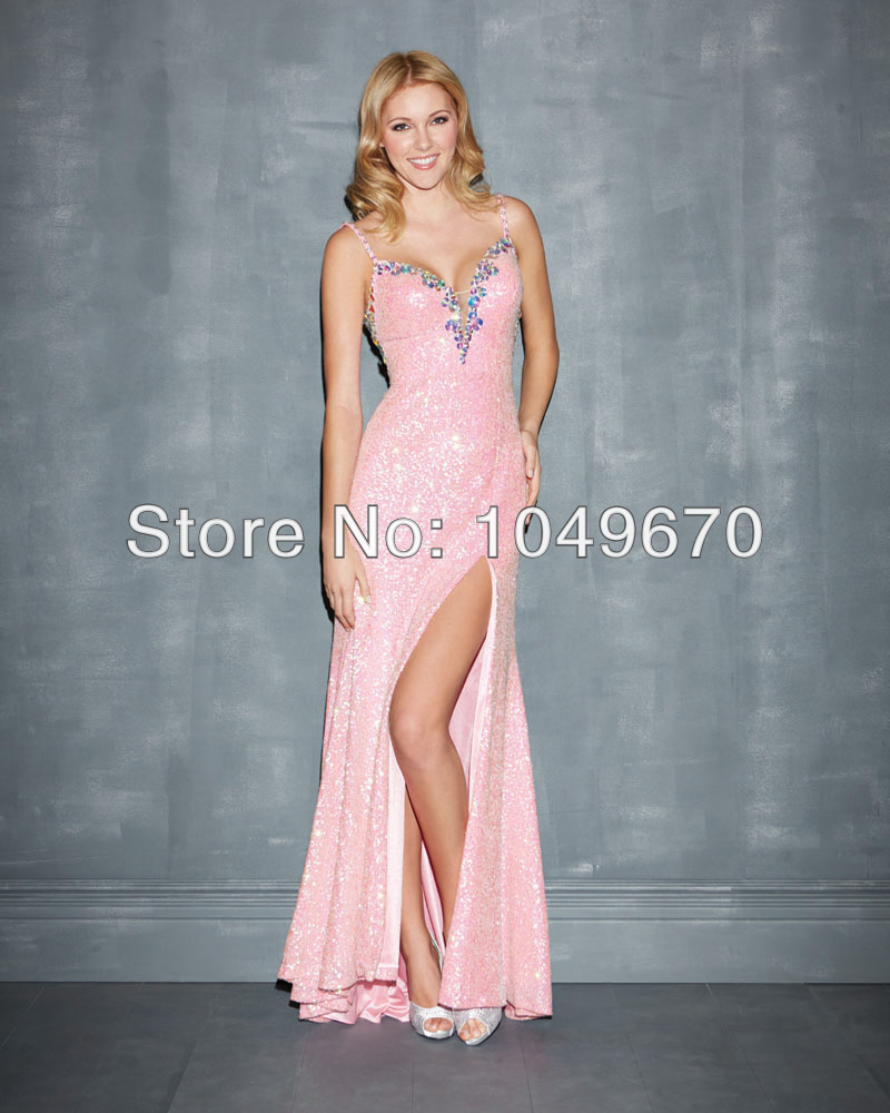 Sexy Pink 2014 Spaghetti Straps Prom Dresses Slit Style With Crystal ...