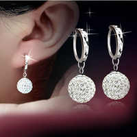 100% 925 prata esterlina moda brilhante shambhala bola de cristal senhoras brincos gota jóias feminino anti alergia transporte da gota