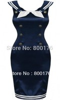 Free shipping r1598 2 colors Vintage 50's SAILOR Pencil WIGGLE Satin Blue DRESS bleistiftkleid