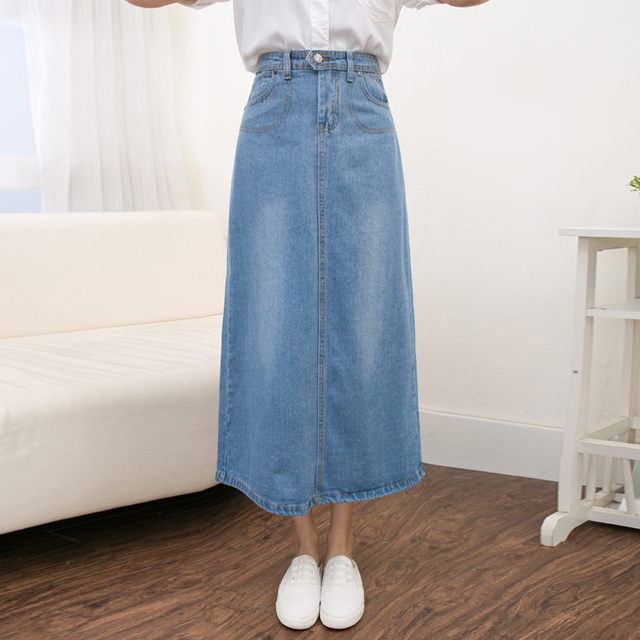 c6ce8e5b936e Vetevidi Spring Autumn Jeans skirt Denim skirts Long Jeans Maxi Skirts  Saias jean Longa Feminina Casual Plus Size S-2XL 6350