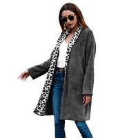 Women's Jackets Winter Coat Women Cardigans Ladies Warm Leopard Patchwork Fleece Long Outwear Blouson Femme Gray / Army Green